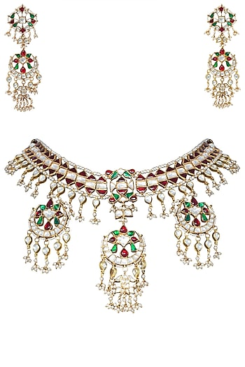 Gold Plated Red, White and Green Stones Necklace Set by Riana Jewellery