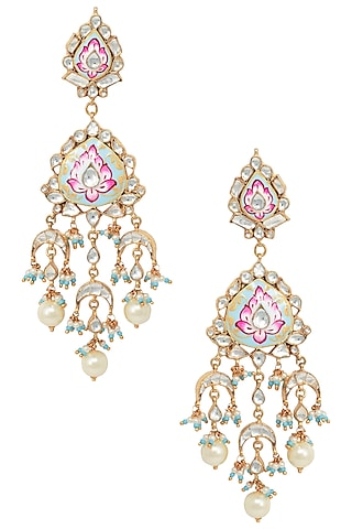 Gold Plated Pink and Firozi Meena Earrings by Riana Jewellery