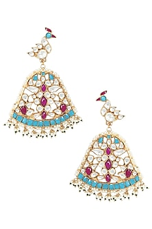 Gold Plated Peacock Motif Earrings by Riana Jewellery