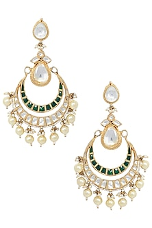 Gold Plated White and Green Stones Chandbali Earrings by Riana Jewellery
