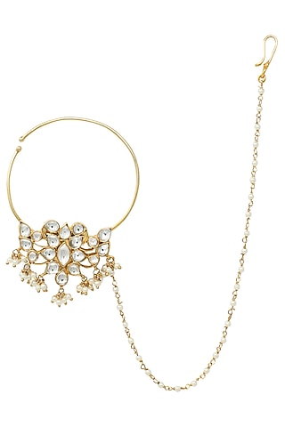 Gold Plated White Jadtar and Pearls Nose Ring by Riana Jewellery