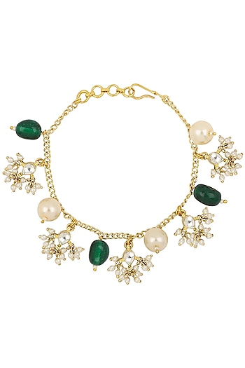 Gold Plated Pearl Bunch and Jadtar Rakhi Bracelet by Riana Jewellery