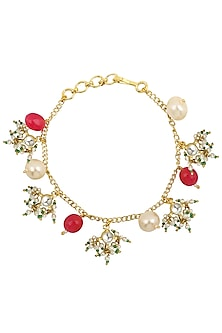 Gold Plated Pearls and Jadtar Rakhi Bracelet by Riana Jewellery