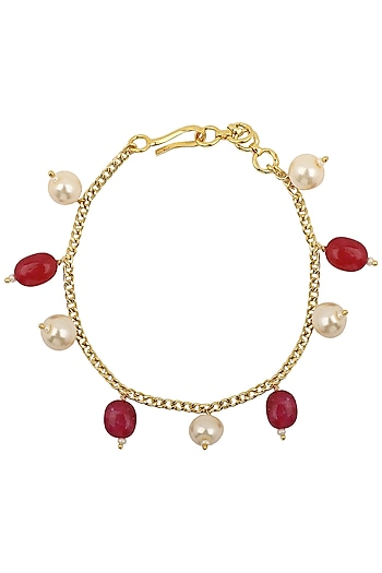 Gold Plated Pink and White Pearls Rakhi Bracelet by Riana Jewellery