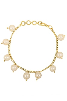 Gold Plated White Pearls Rakhi Bracelet by Riana Jewellery