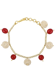 Gold Plated Pink and Textured White Pearls Rakhi Bracelet by Riana Jewellery
