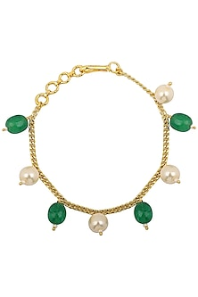 Gold Plated Green and White Pearls Rakhi Bracelet by Riana Jewellery
