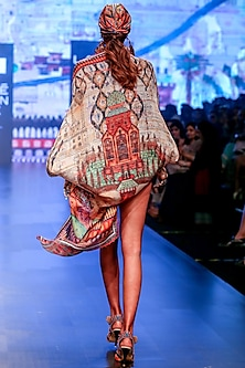 Beige Printed Satin Cover Up Cape by Rajdeep Ranawat