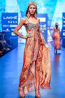Multi Colored Fluted Strappy Dress by Rajdeep Ranawat