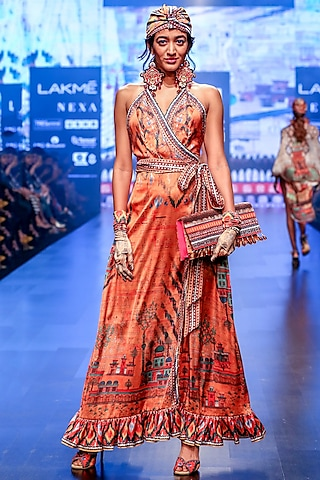 Orange Wrap Maxi Dress by Rajdeep Ranawat