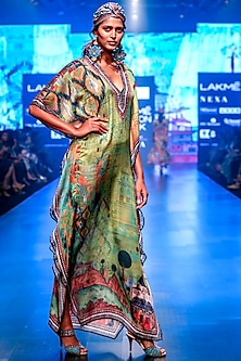 Lime Satin Long Kaftan by Rajdeep Ranawat