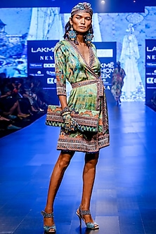 Lime Wrap Dress With Belt by Rajdeep Ranawat