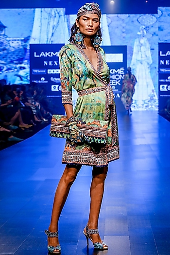 Lime Wrap Dress With Belt by Rajdeep Ranawat