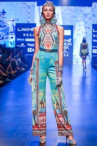 Turquoise Printed Halter Jumpsuit by Rajdeep Ranawat