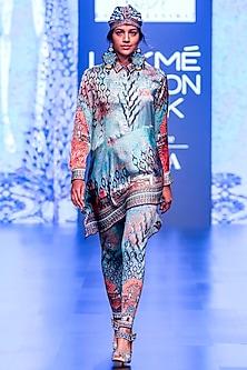 Grey & Turquoise Printed Asymmetrical Tunic by Rajdeep Ranawat