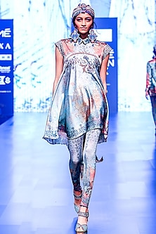 Aqua Blue & Grey Printed Draped High-Low Tunic by Rajdeep Ranawat