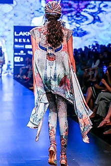 Aqua Blue & Grey Printed Draped High-Low Tunic by Rajdeep Ranawat