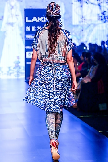 Grey & Indigo Embroidered Tunic by Rajdeep Ranawat