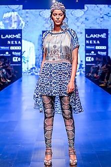 Yashma Grey & Indigo Printed Pants by Rajdeep Ranawat