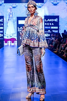Zian Grey & Indigo Printed Bell Bottom Pants by Rajdeep Ranawat