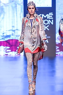 Ferhana Blush Pink & Grey Printed Tunic by Rajdeep Ranawat