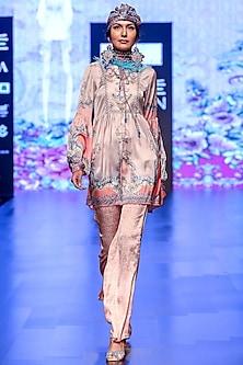 Hunoon Blush Pink Printed Bell Bottom Pants by Rajdeep Ranawat