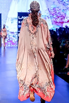 Blush Pink Printed Long Kaftan With Jewelled Belt by Rajdeep Ranawat