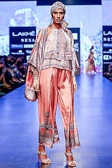 Blush Pink Printed & Pleated Culotte Pants by Rajdeep Ranawat