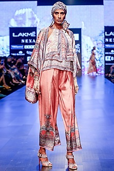 Blush Pink Printed & Pleated Culotte Pants by Rajdeep Ranawat