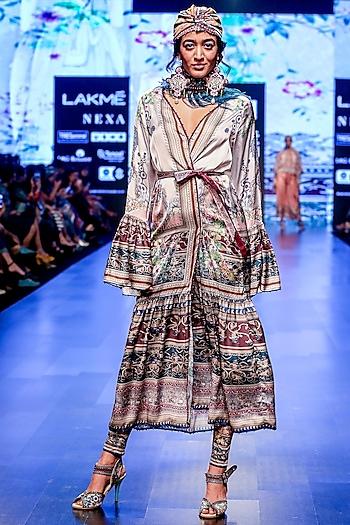 Hazira Slate Printed Pants by Rajdeep Ranawat