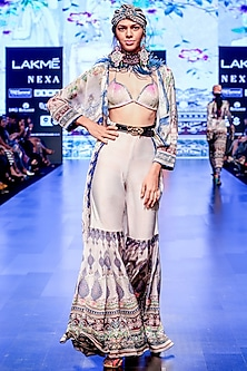 Slate Printed Panelled Sharara Pants by Rajdeep Ranawat