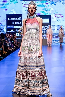 Slate Embroidered Printed Tiered Halter Dress by Rajdeep Ranawat