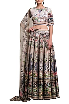 Blush Pink Digital Printed Silk Lehenga Set by Rajdeep Ranawat