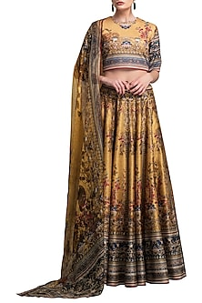Mustard Digital Printed Lehenga Set by Rajdeep Ranawat