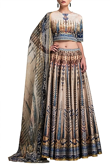 Gold Digital Printed Silk Lehenga Set by Rajdeep Ranawat