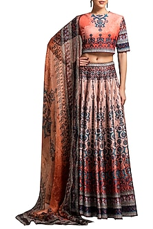 Peach Digital Printed Lehenga Set by Rajdeep Ranawat