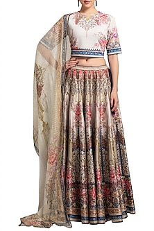Cream Digital Printed Lehenga Set by Rajdeep Ranawat