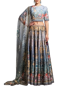 Teal Digital Printed Lehenga Set by Rajdeep Ranawat