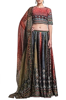 Multi Colored Digital Printed Lehenga Set by Rajdeep Ranawat