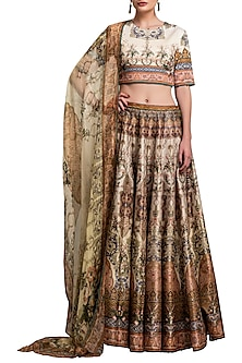 Gold Digital Printed Lehenga Set by Rajdeep Ranawat