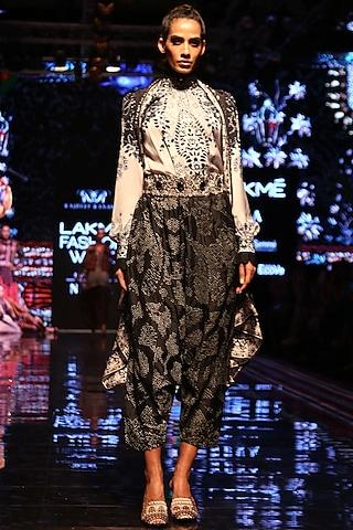 Black & White Printed Embroidered Shirt by Rajdeep Ranawat