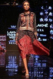 Black & Red Printed Biker Jacket by Rajdeep Ranawat