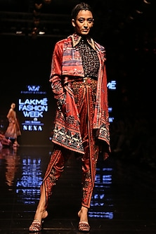 Red Printed Draped Jacket by Rajdeep Ranawat