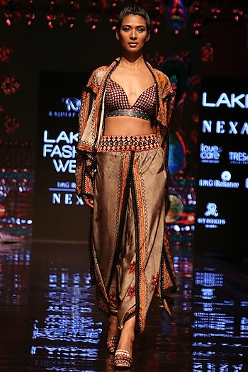 Taupe Printed Cover Up Jacket by Rajdeep Ranawat