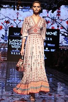 Taupe Printed Anarkali Maxi Dress by Rajdeep Ranawat