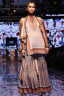 Taupe Printed Silk Cover Up Jacket by Rajdeep Ranawat
