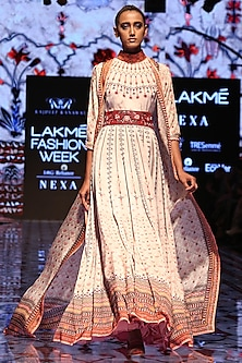 Ivory Printed Anarkali Maxi Dress by Rajdeep Ranawat