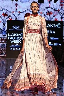 Ivory Printed Anarkali Maxi Dress by Rajdeep Ranawat