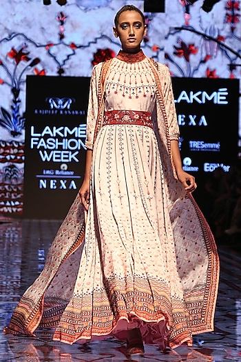 Ivory Printed Cover Up Jacket by Rajdeep Ranawat