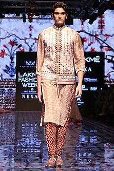 Marsala Bandhani Churidar Pants by Rajdeep Ranawat Men